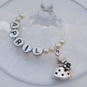 Small Dress Personalised Wine Glass Charm